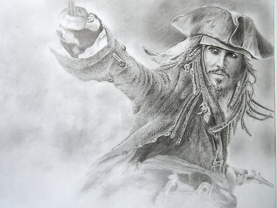 a drawing of jack sparrow johnny depp. Captain Jack Sparrow Drawing