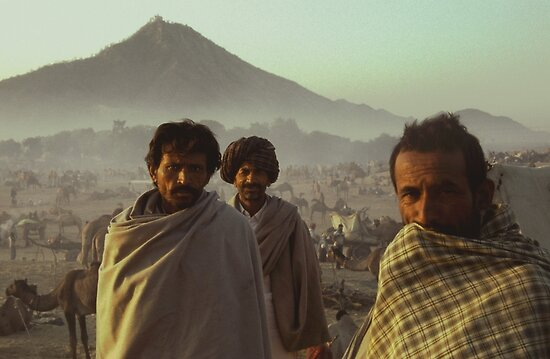 Street Photography: Three Cameleers Pushkar India by Robert van Koesveld
