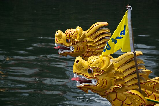 "Vietnamese Dragon: ""Vietnamese Dragon Figureheads And Bamboo Basket Boats"