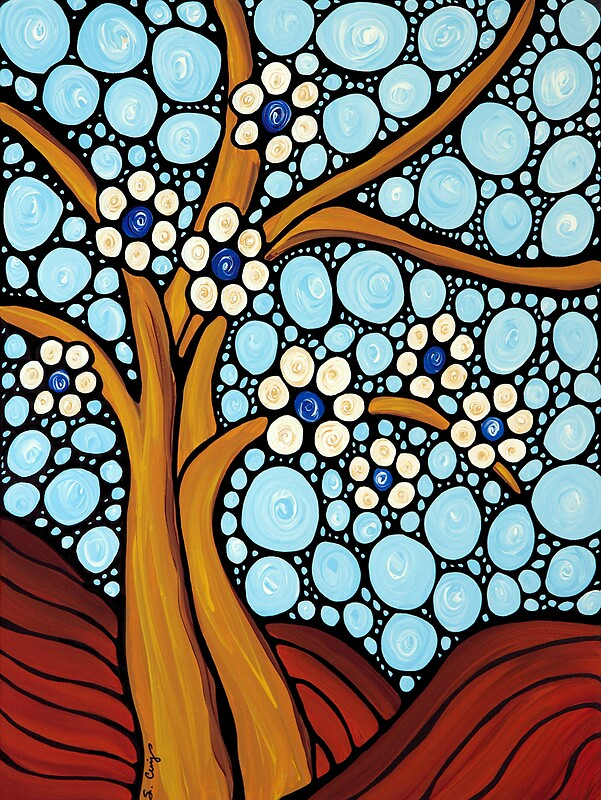 Quot The Loving Tree Abstract Mosaic Landscape Art Print Quot By